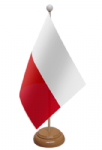 Poland Desk / Table Flag with wooden stand and base